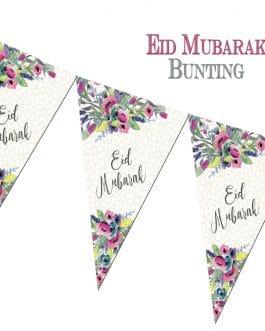 Eid Mubarak Bunting Flowers by Islamic Moments