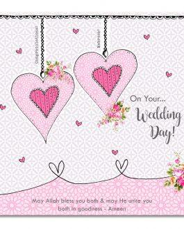 Wedding Hanging Hearts Card